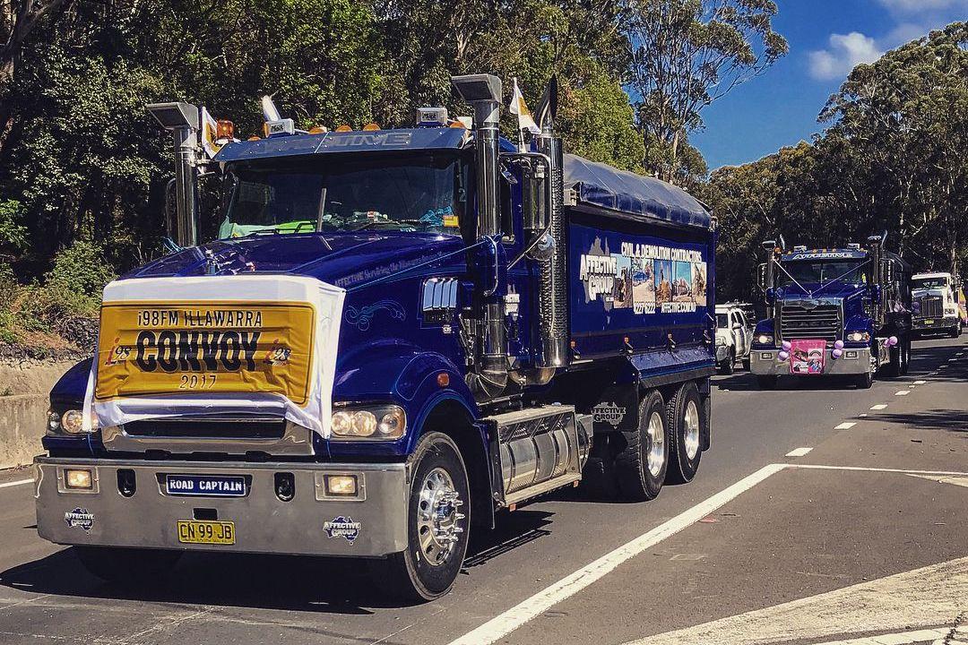 Convoy of trucks raising money for cancer charity